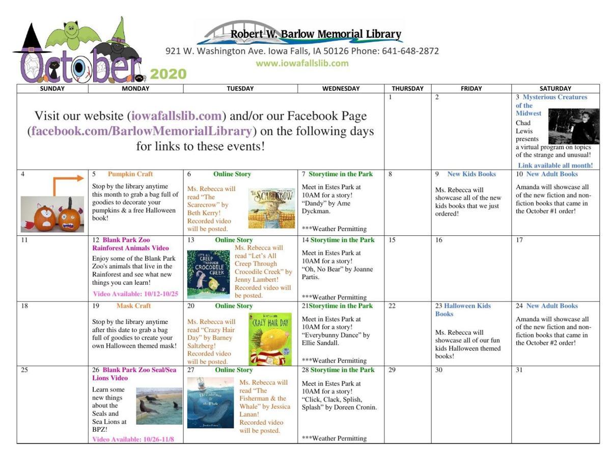 Barlow Library October 2020 Calendar