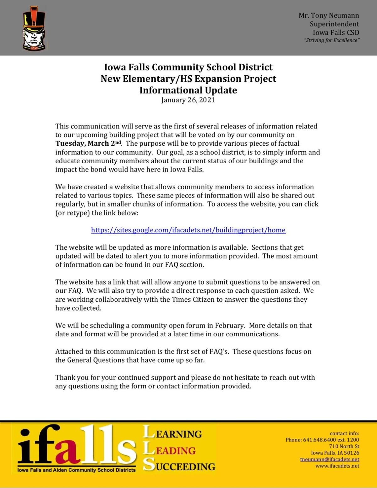 Iowa Falls School Bond Update #1 - Jan. 26, 2021