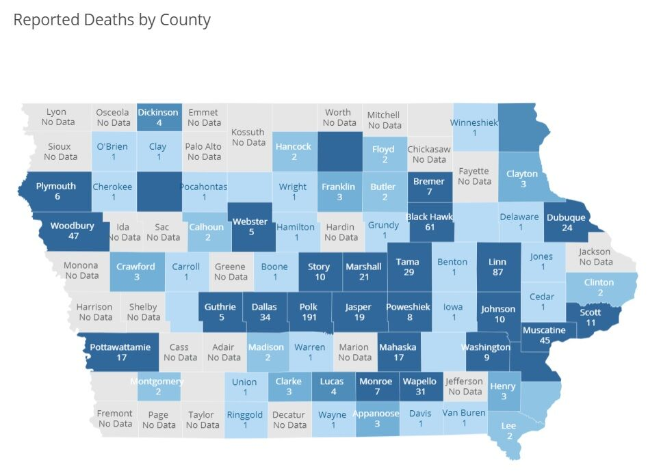 COVID-19 Deaths by County July 23, 2020