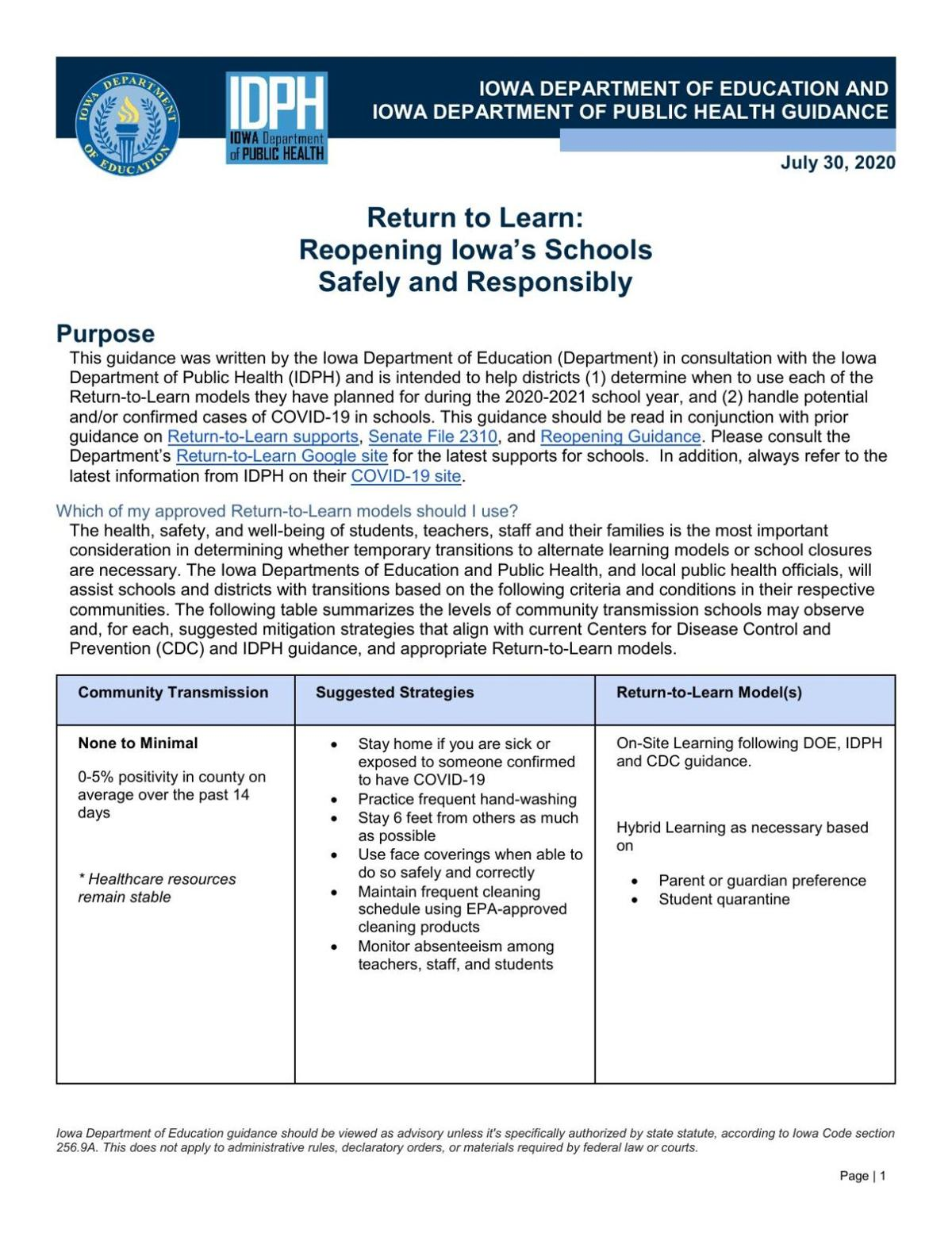 Return to Learn Guidelines July 30, 2020