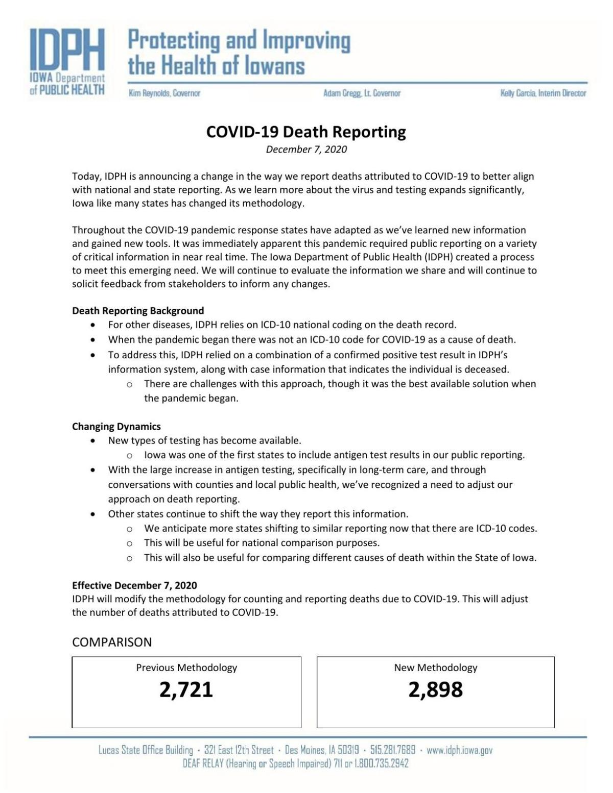 IDPH Press Release on Death Methodology Changes 12-7-2020