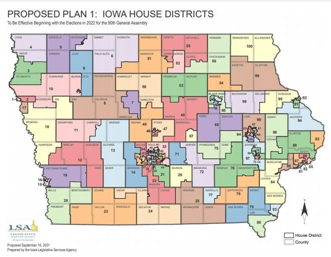 Proposed Iowa House map