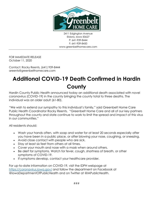 Third COVID-19 Death in Hardin County