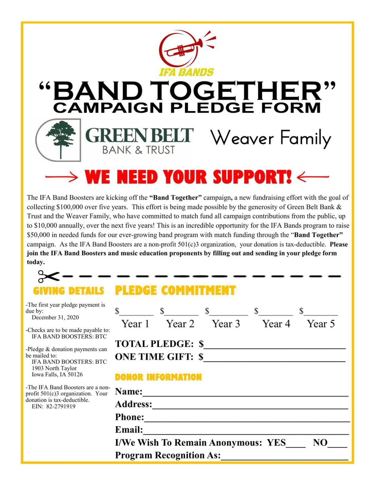 Band Together Pledge Form