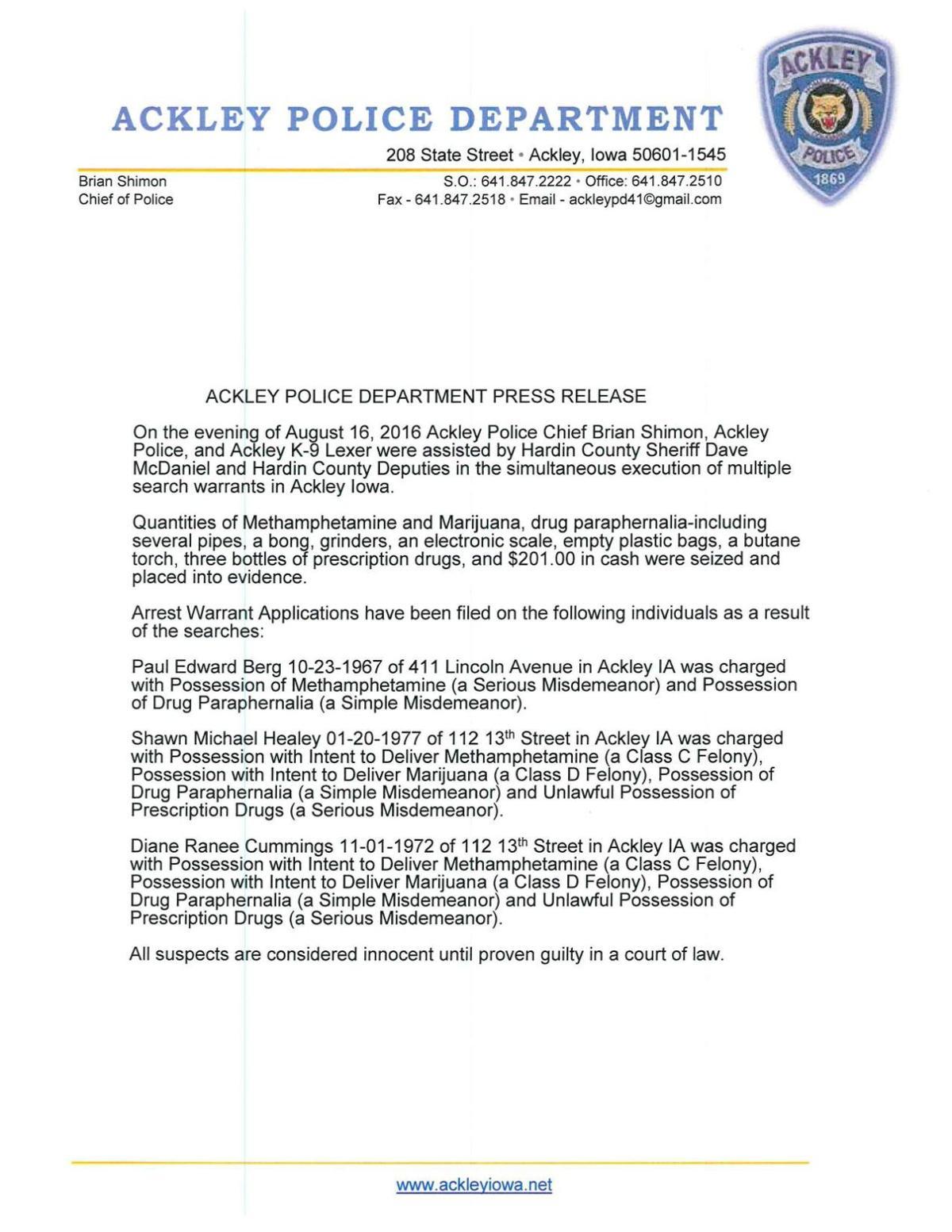 Ackley Police Department Press Release | | timescitizen com