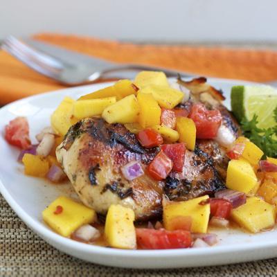 Roasted chicken with mango salsa