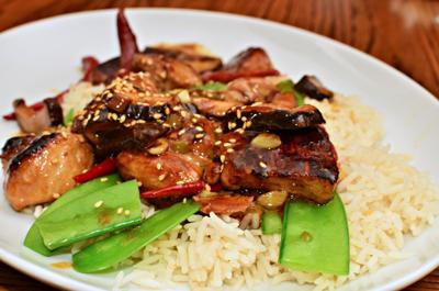 Sesame seared chicken with snow peas and rice