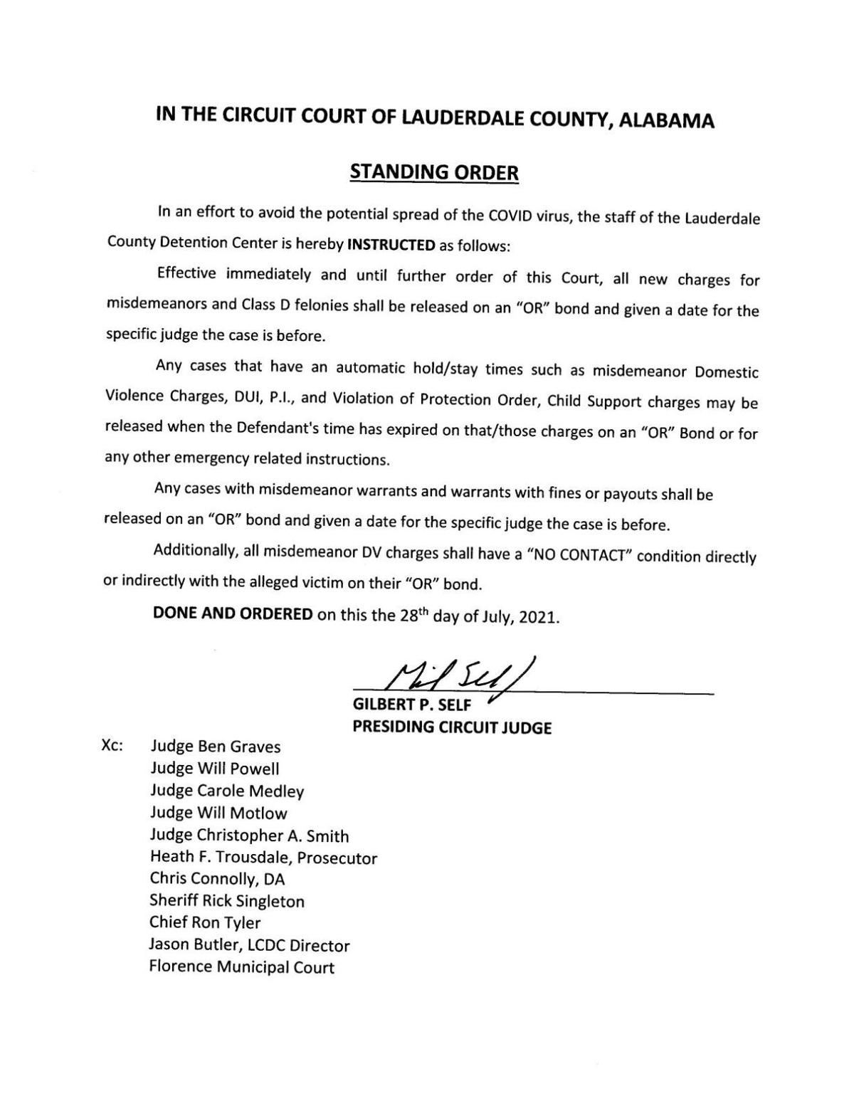 Standing order from Judge Self