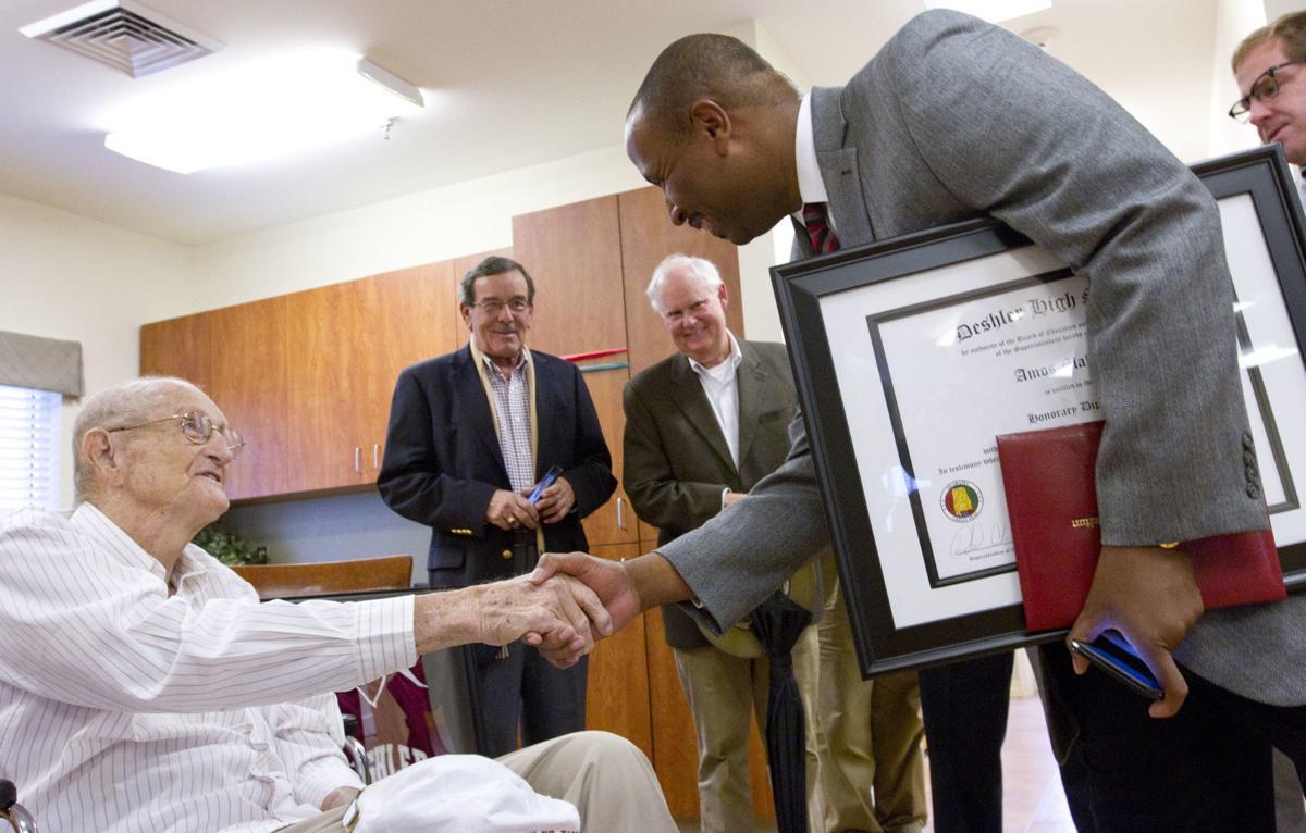 amos malone receives honorary deshler high school diploma