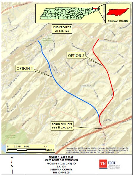 Route options for potential SR 357 extension