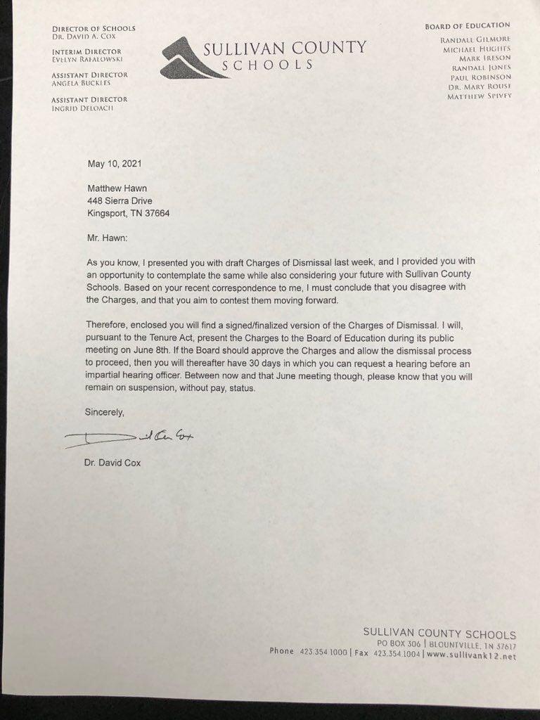 Sullivan County Schools May 10, 2021`letter to Matthew Hawn