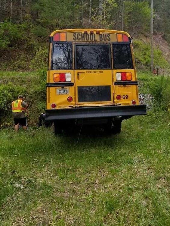 Wrecked school bus
