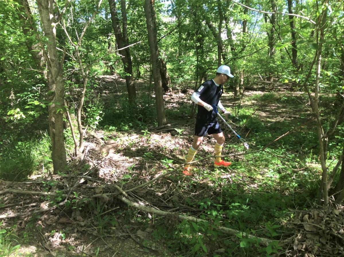 Kyle Mantyla clears trash from woods along Kingsport's Greenbelt