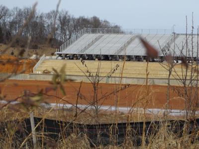 West Ridge High football field and bleachers, Feb 4, 2021