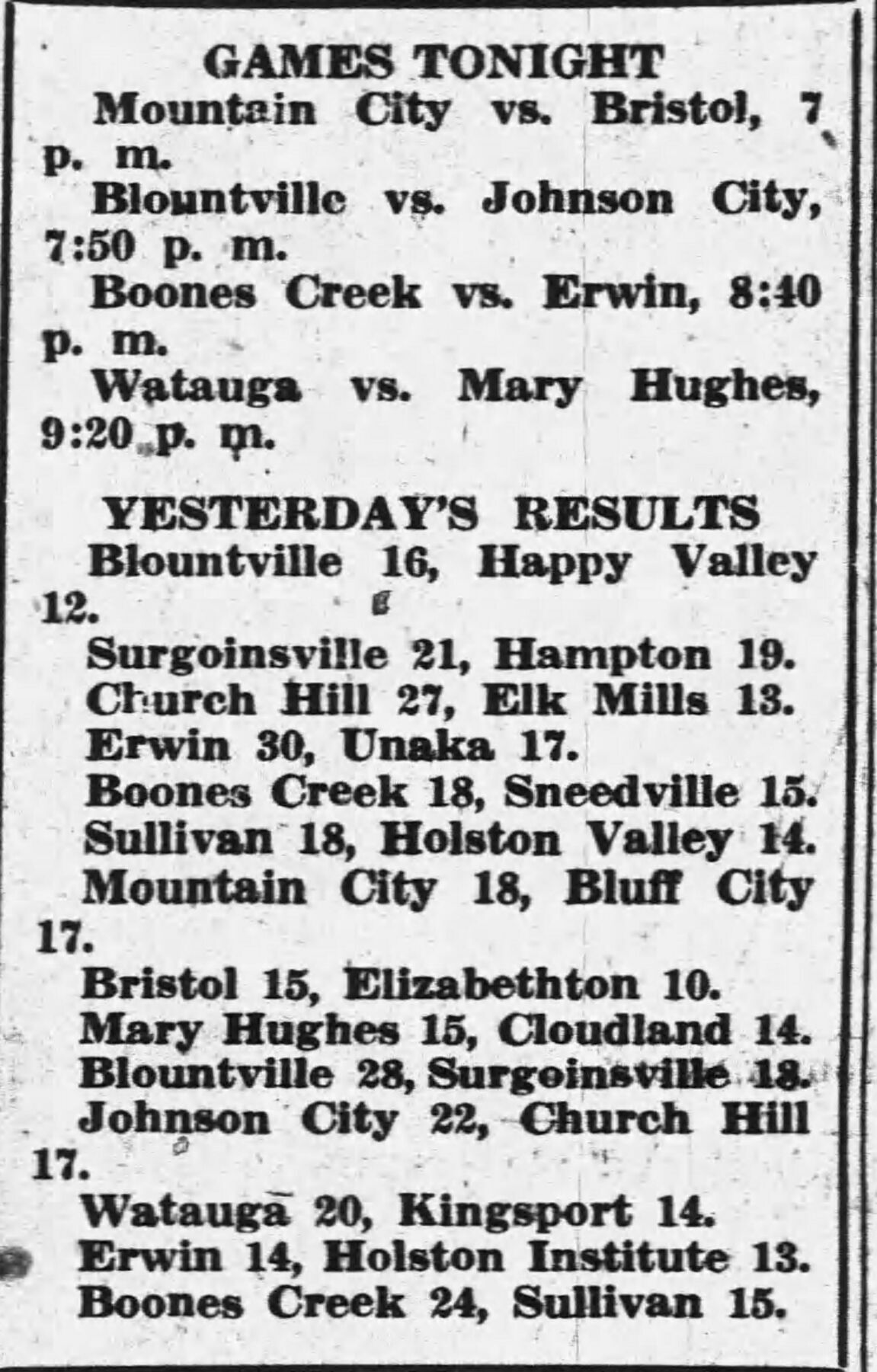 Scores from 1938 tournament first round