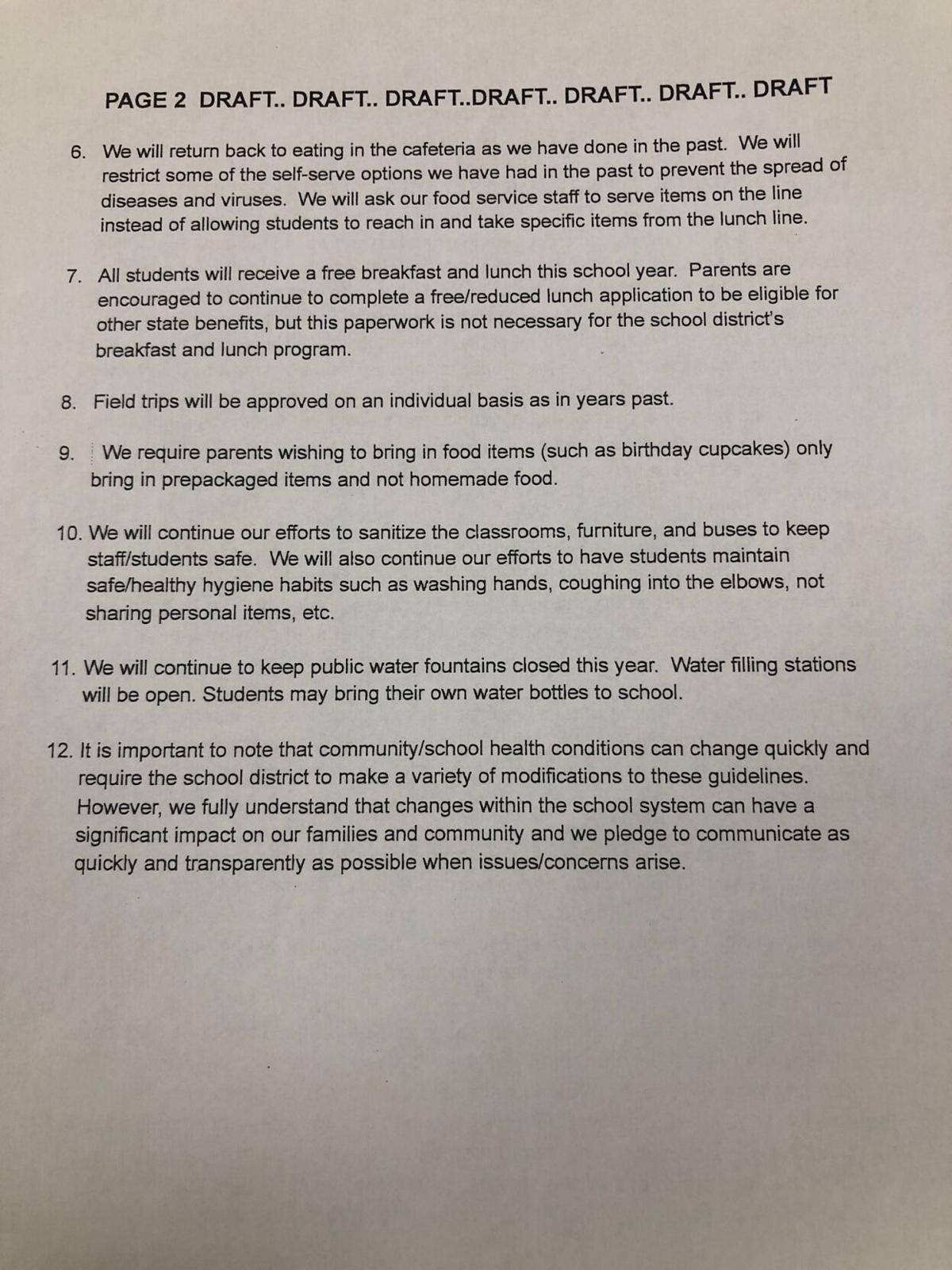 COVID-19-related document approved by the Sullivan County school board July 20, 2021