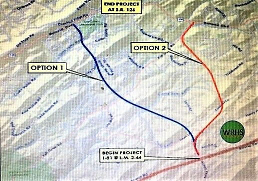 Potential routes for new road near West Ridge High School