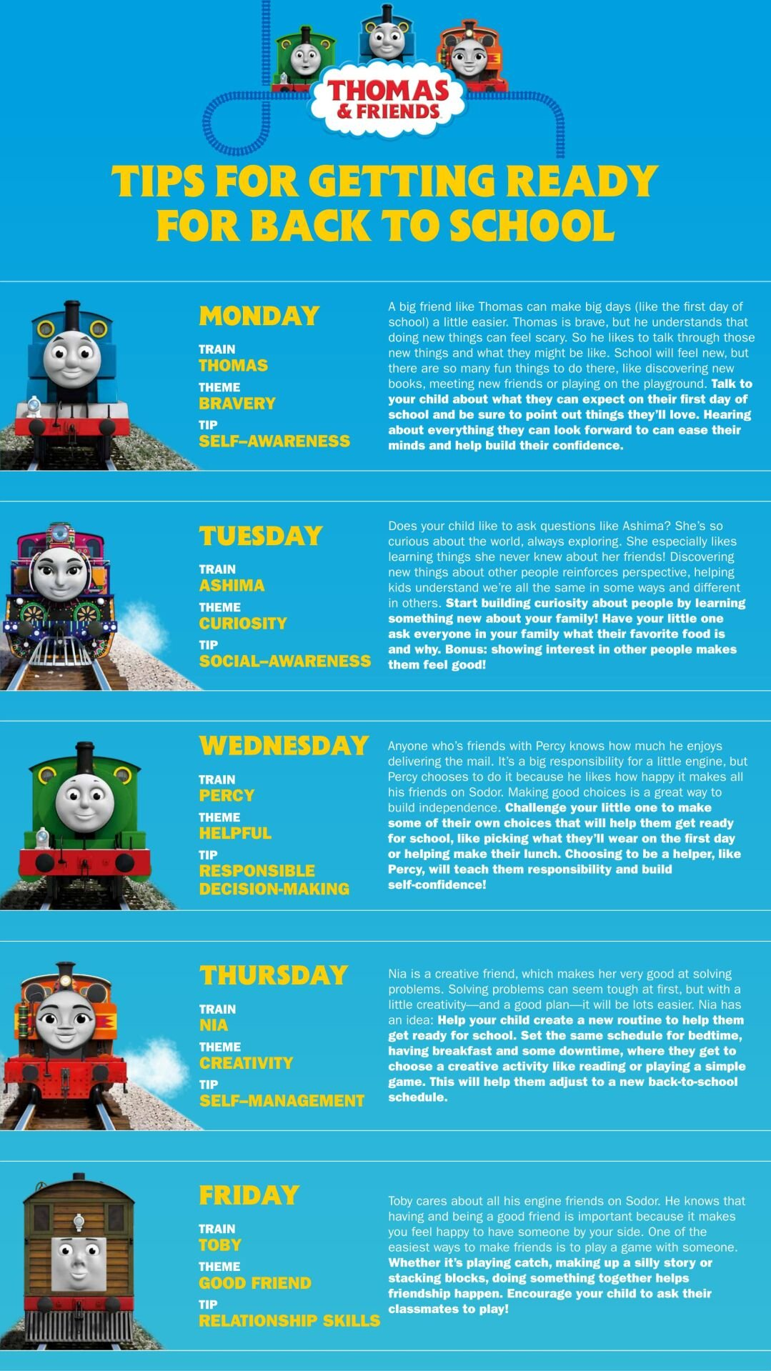 Getting Ready For Back To School Tips From Thomas & Friends