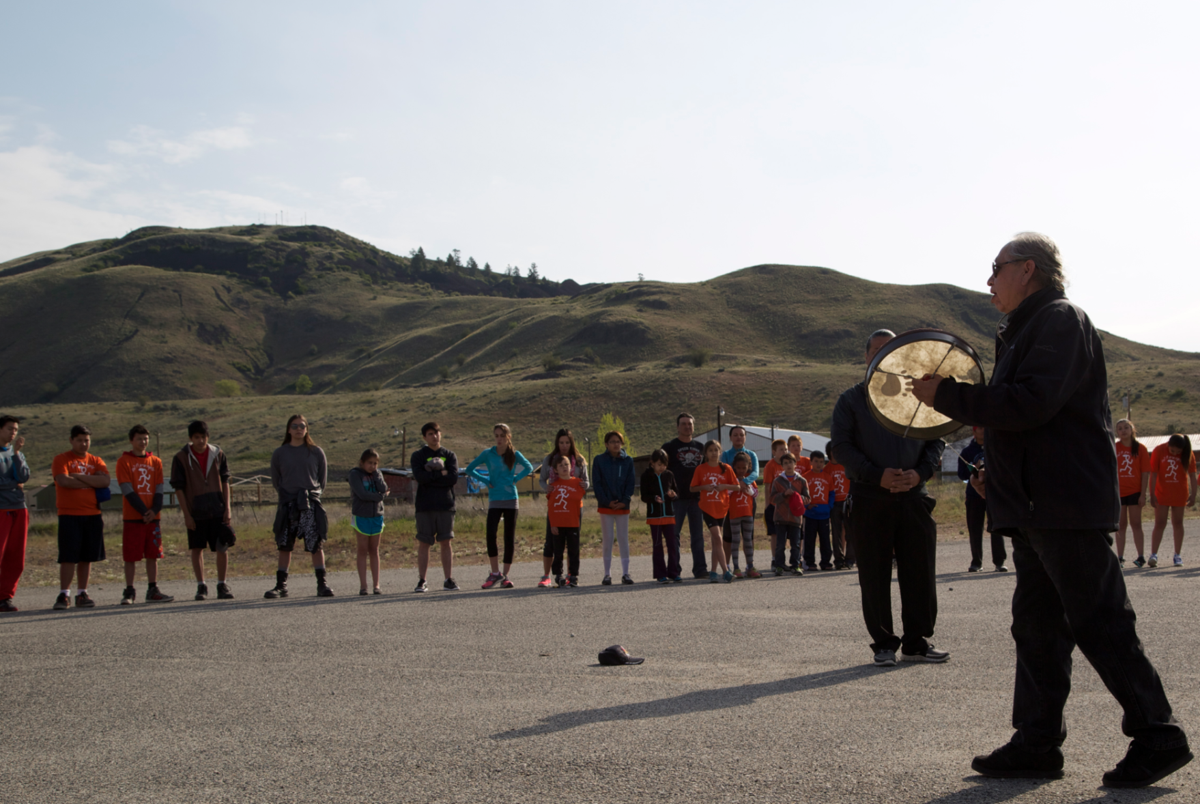 "Elder Albert Foot sings to honor the group: ""Run for those who can't run anymore,"" said Foot."