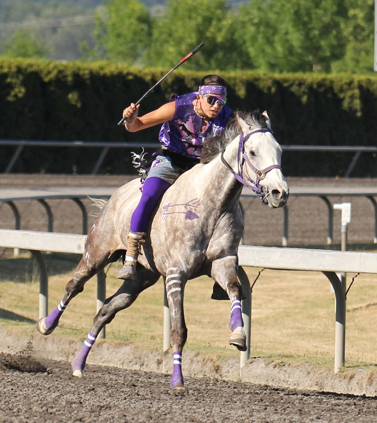 Scott Abrahamson (Colville tribal member) jockey for Abrahamson Relay at the Muckleshoot Gold Cup (June 14-16) at Emerald Downs Racetrack in Auburn