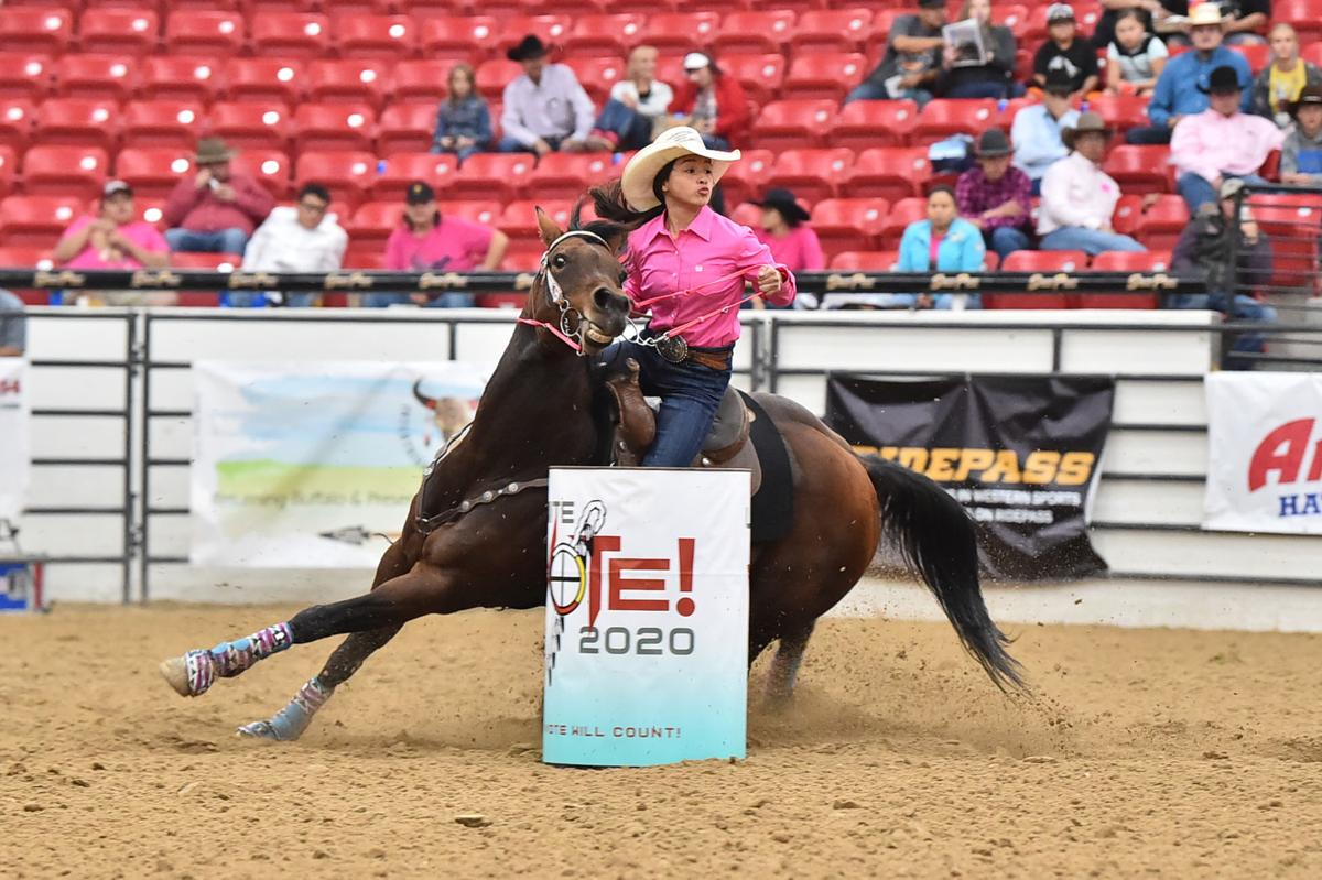 Colville tribal member Isabela Timentwa competes in the Jr. ladies barrels at this year's Indian National Finals Rodeo (Oct. 22-26) at the South Point Equestrian Center in Las Vegas, Nevada. Timentwa placed second overall with a total average of 46.194