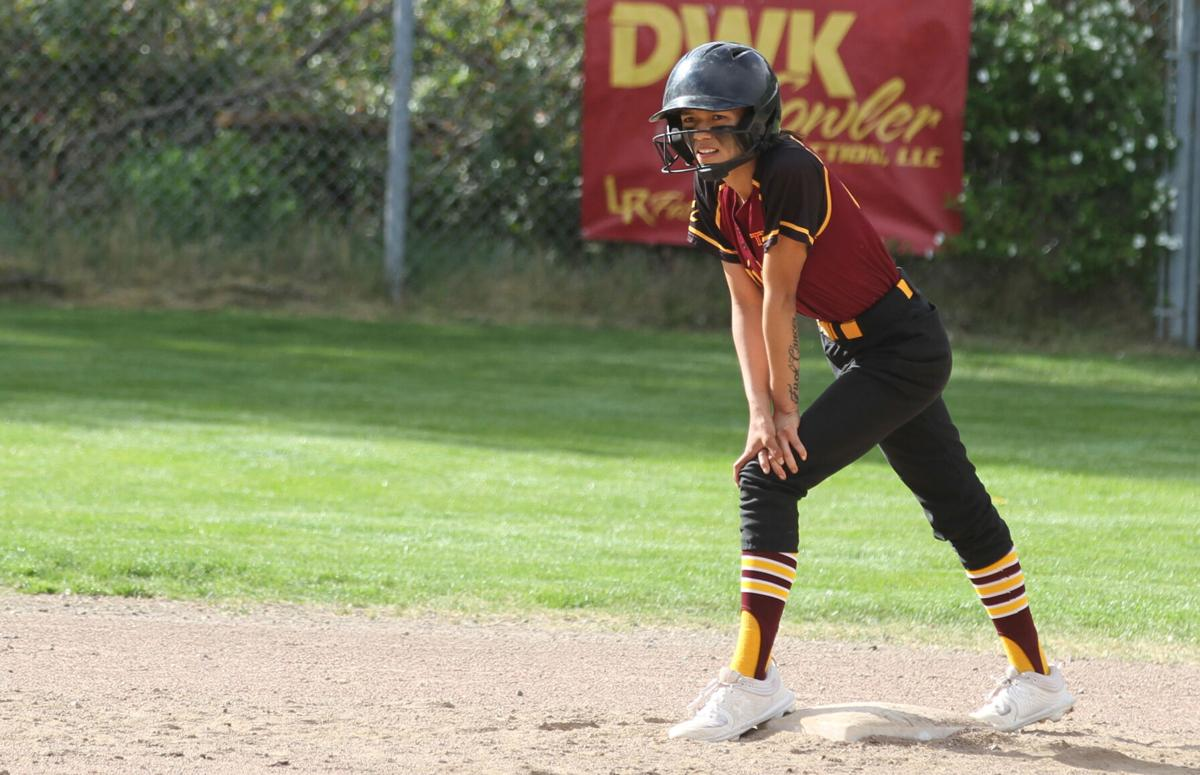 Colville tribal member Kyona Edmo stands on second base, waiting for the call from LR coach Jackie Gross, (May 3) against Okanogan in CWA 2B League action