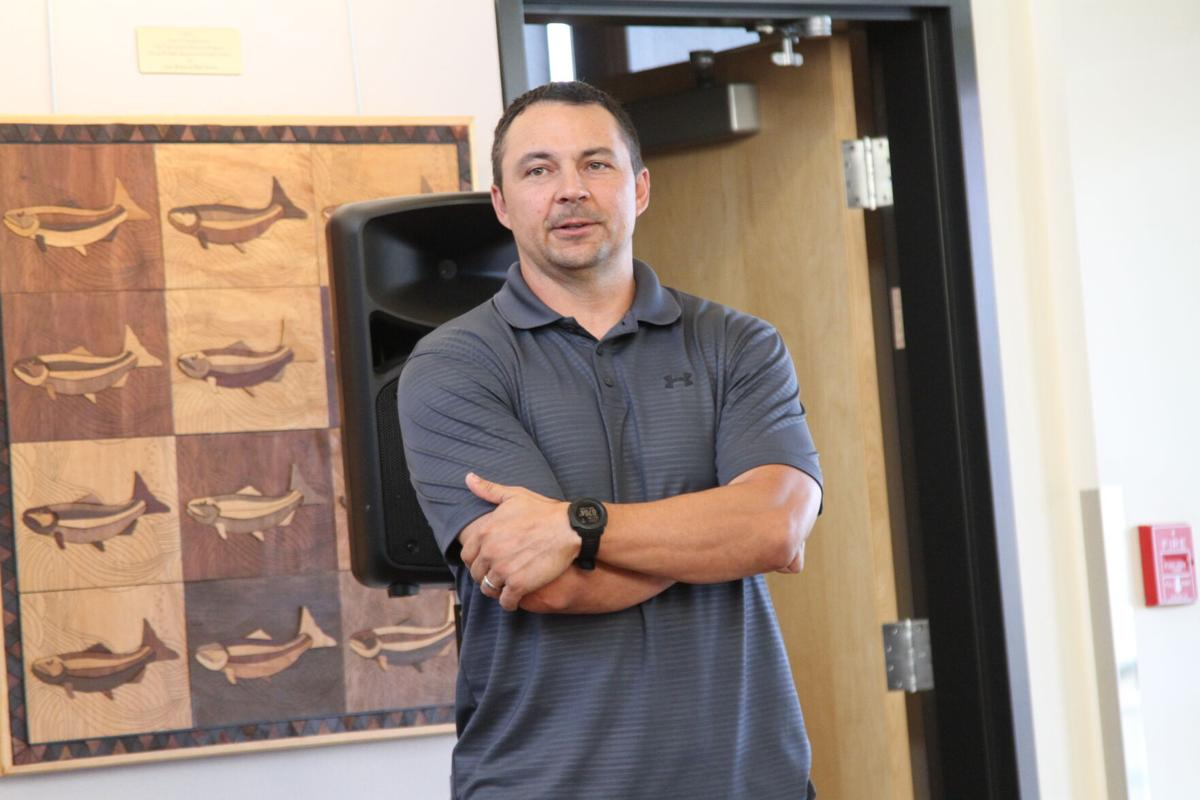 Colville Natural Resource Division Director Cody Desautel speaks at the first salmon ceremony, July 1