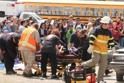 The Colville Tribal Police and EMS conducted a mock car crash this afternoon at the Nespelem Community Center as over 150 Lake Roosevelt High School students and staff attended