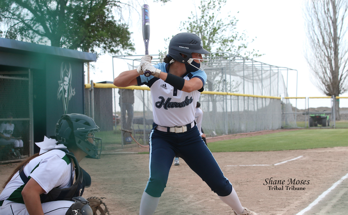 Colville tribal member Rylee Desautel steps up to the plate for Columbia Basin against Big Bend (May. 27) in Northwestern Athletic Conference action