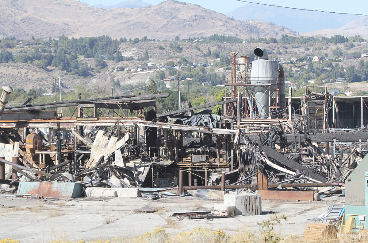 The charred remains of the Colville Indian Plywood and Veneer Mill.