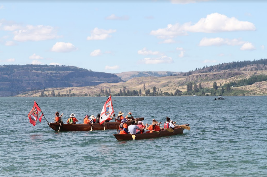 The Colville and Spokane tribal canoes