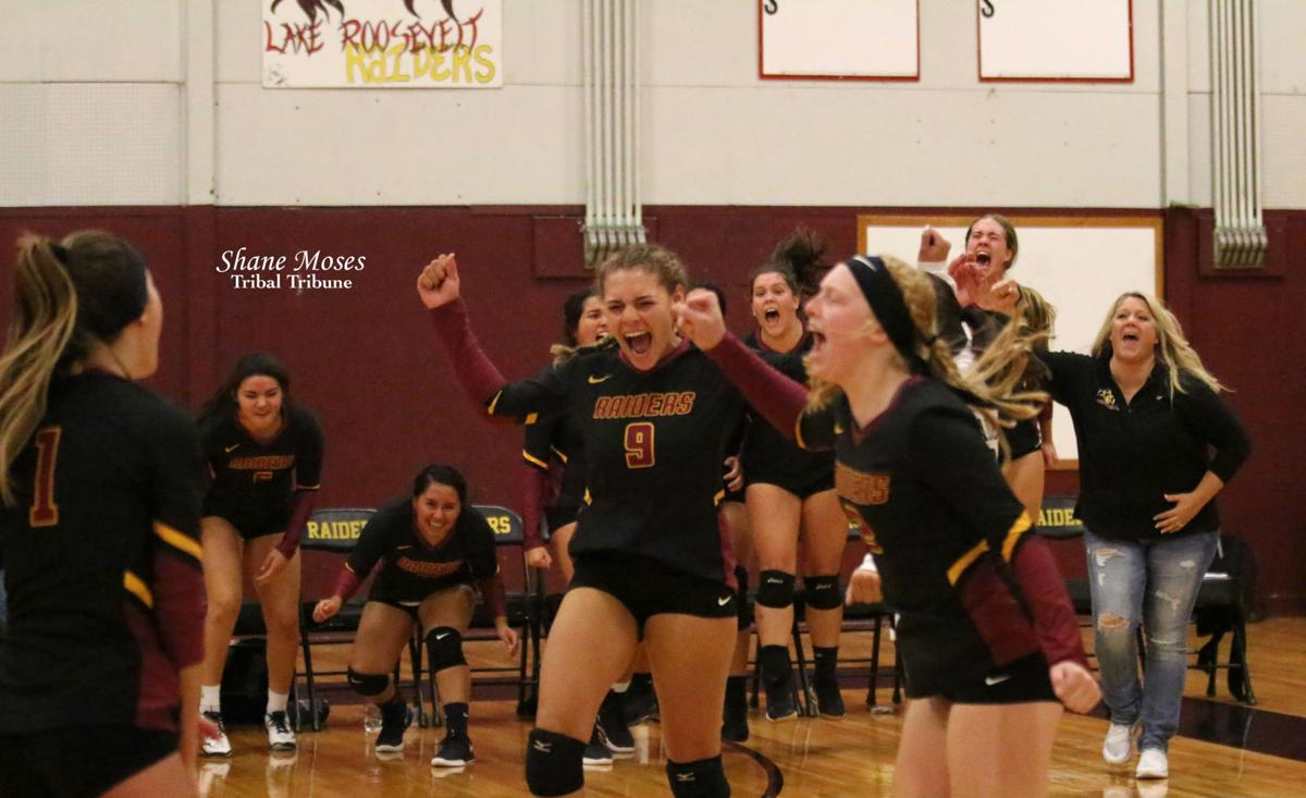Tribal descendant Mikaylah Thompson (#9 black) of Lake Roosevelt celebrates with her teammates as they just beat Manson 15-10 in the fifth set on Tuesday (Oct. 15) evening in Central Washington 2B League action