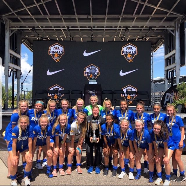 The Eastern Washington Surf SC GO3 WNPL team are all smiles after beating the New England Futbol Club 1-0 and winning the NPA national Championship on July 15