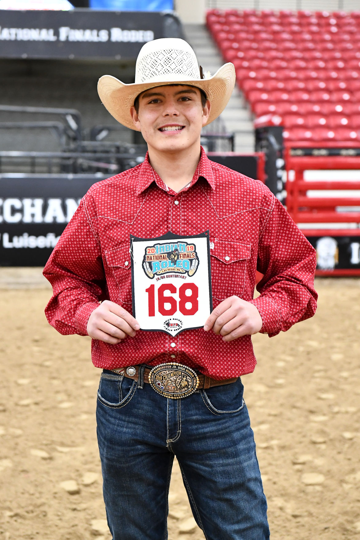 Colville tribal member Bryce Wippel competed in the Jr. bull riding at this year's Indian National Finals Rodeo (Oct. 22-26) at the South Point Equestrian Center in Las Vegas, Nevada. Wippel placed 9th overall with a total average of 60, number of head, one.