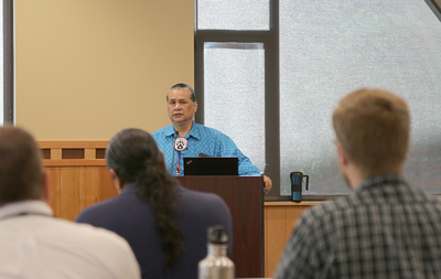 Colville Business Council member Andy Joseph Jr. speaks at an opioid training in Nespelem, Monday.