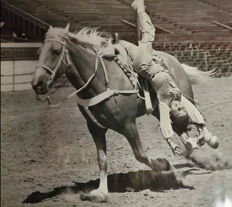 Cherie Moomaw trick-riding during rodeos at age 9.