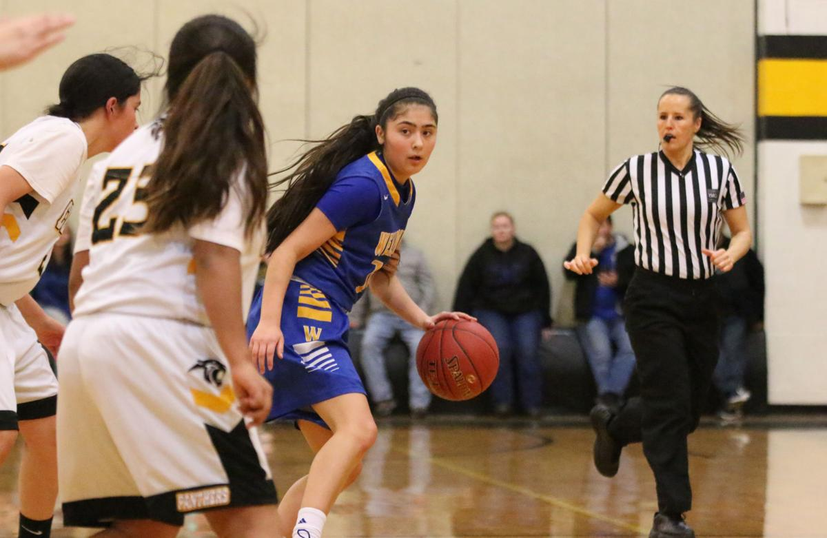 Colville tribal member Lachelle Boyd (No. 14 blue) of Wellpinit dribbles the ball up court against Cusick on Friday evening in Northeast 1B non-division play.