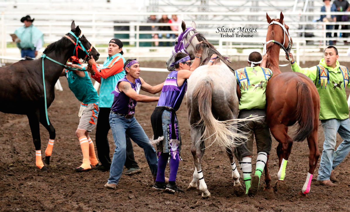 Scott Abrahamson (Purple), jockey for Abrahamson Relay gets ready to jump on to his horse at the beginning of this year's Indian Relay Championship on Sunday at the Walla Walla County Fairgrounds