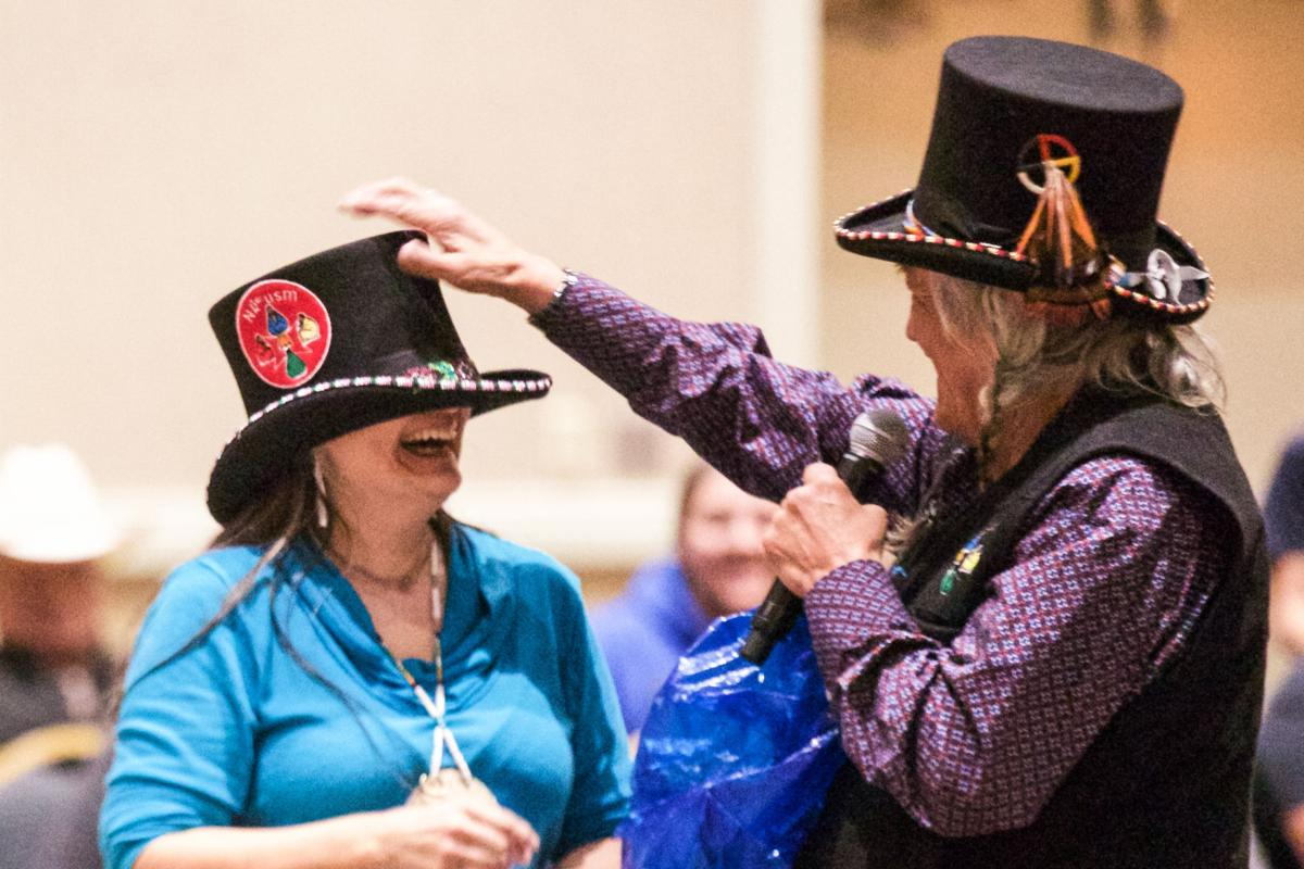 Tribal member Shelly Boyd is presented a gift from Stipn Smallsalmon