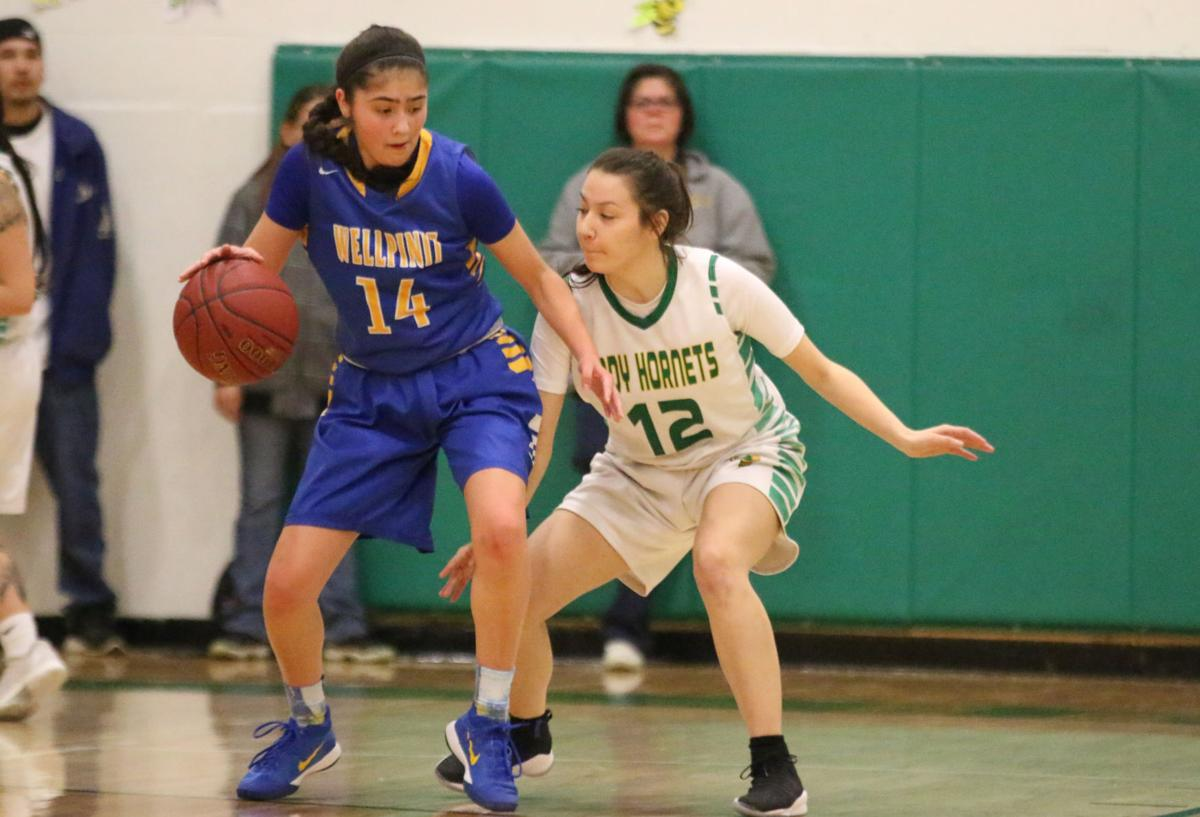Colville tribal member Lachelle Boyd (No. 14 blue) of Wellpinit protects the ball from fellow tribal member Cloey Simpson (No. 12 white) of Inchelium on Wednesday, Feb 7 in first round of the Northeast District 7 1B girls basketball tournament. Inchelium defeated Wellpinit 61-58.
