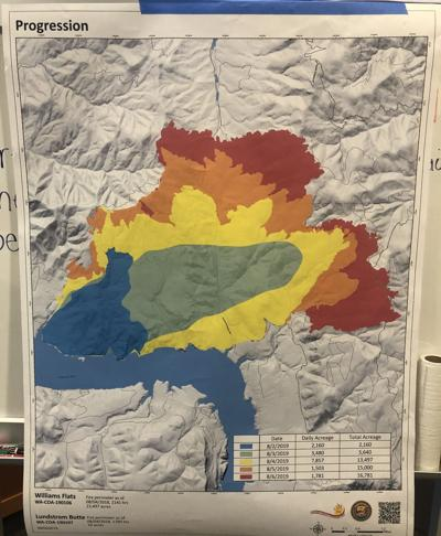 A progression map shows the Williams Flats fire growth since is started, Aug. 2.