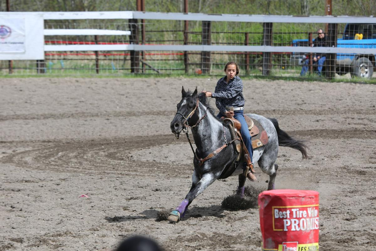 Colville member Jessie Walker, the 2018 Colorama Rodeo Queen, competed in the barrel racing competition, Sunday at the Nespelem Junior Rodeo.