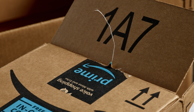 An Amazon package after opening.