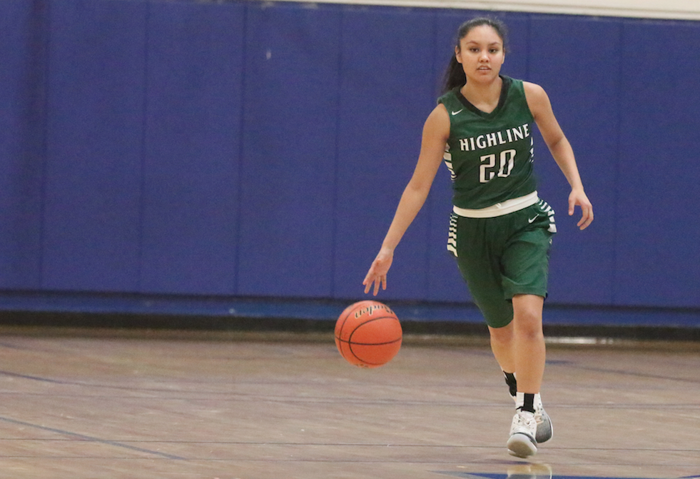 Colville tribal member Kamea Pino of Highline College brings the ball up against Grays Harbor as the two schools clashed in Northwest Athletic Conference action on Feb. 15 at Aberdeen.
