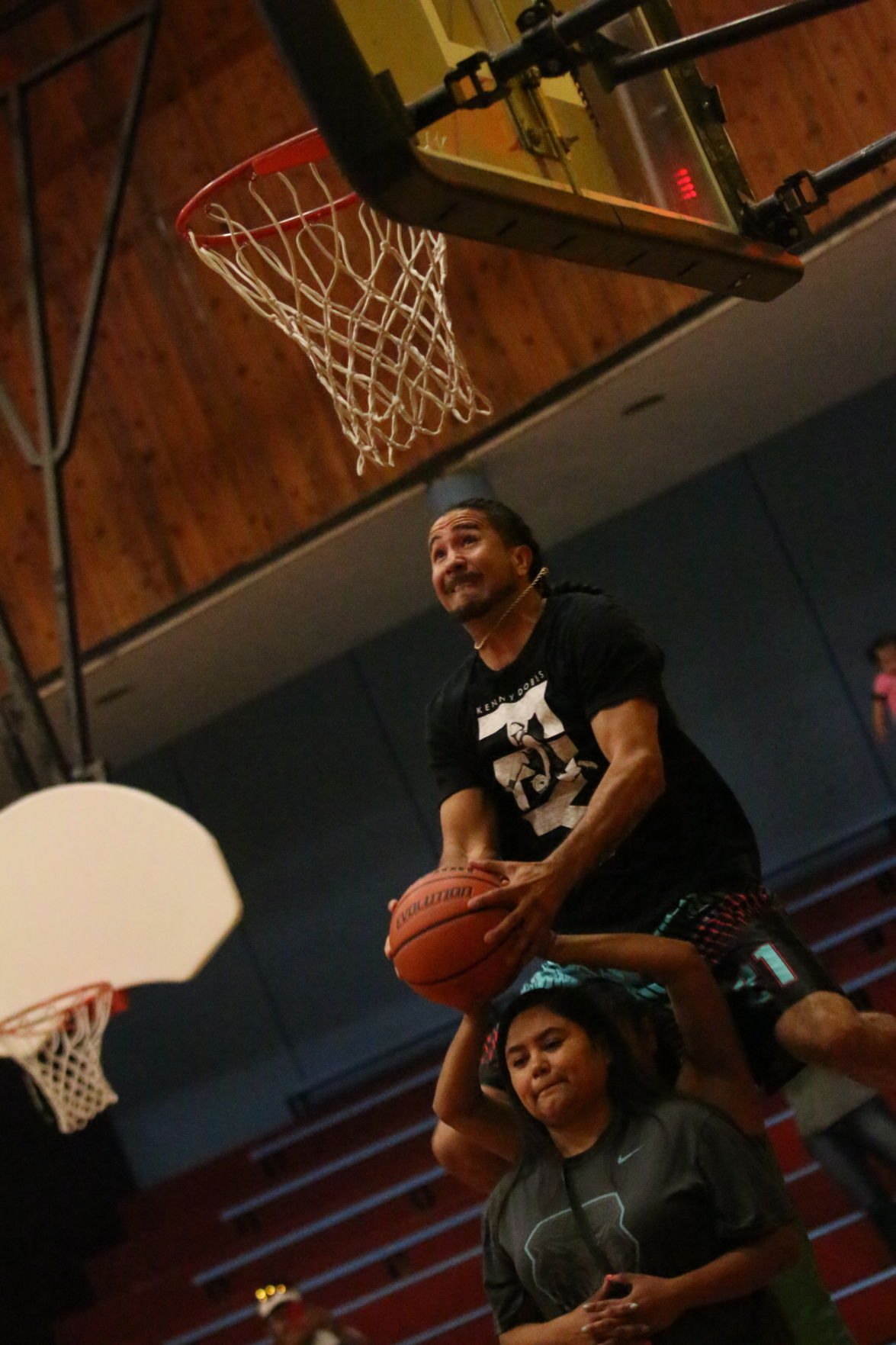 Scenes from the Kenny Dobbs Basketball Camp held at the Nespelem Community Center (August 5-6) for K-12 youth. Dobbs capped off the camp with an All-star game and slam-dunk contest on Tuesday, August 6, 2019