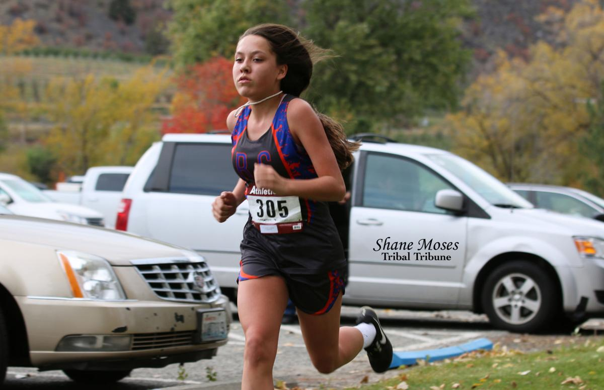 Josephine Pakootas (Colville Tribal member) of Republic finishes strong at the Oroville Invite on Friday (Oct. 18) afternoon