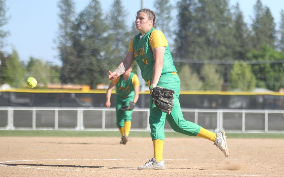 Meika Heath of Inchelium throws a pitch against Sunnyside Christian on Friday afternoon. Heath would go on to pitch a complete game shutout, helping the Lady Hornets to a 11-0 win