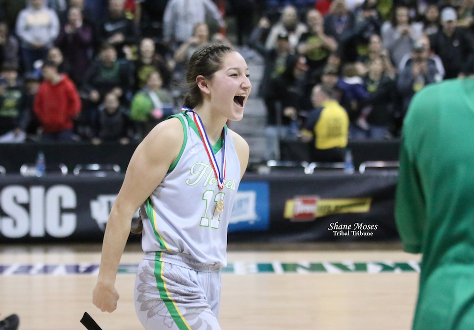 Tribal member Rylee Desautel of Inchelium cheers and celebrates after helping Inchelium beat Mount Vernon Christian in the semifinals of this year's girls 1B state tournament. She was awarded with the sportsmanship award after the game.