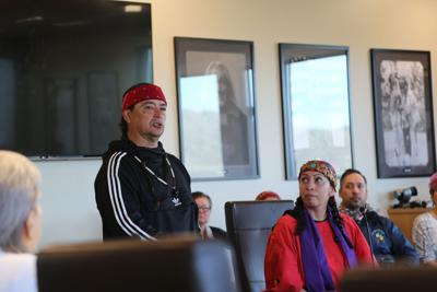 Bobby Wallace, leader of AIM's The Longest Walk 5.3, addressed Colville Business Council's Community and Economic Development Committee, Tuesday in Nespelem. To his right is Colville tribal member Earth Feather Sovereign.