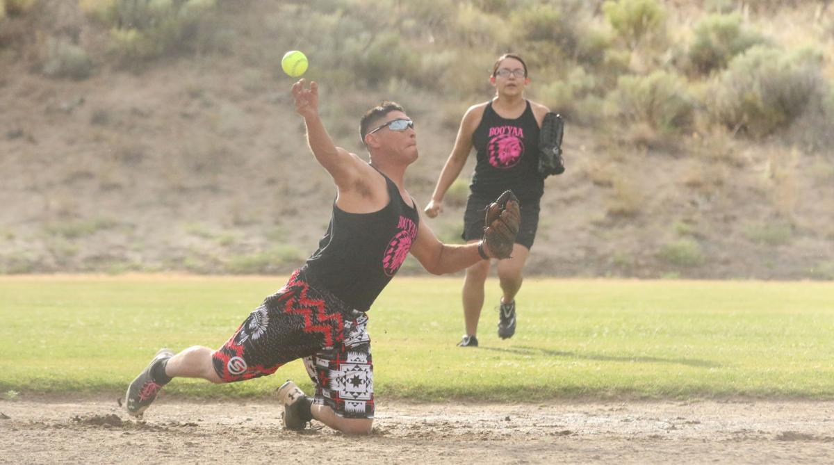 Colville Tribal member Vincent Vargas Jr., of Team Boo Yaa, fields a ground ball and rifles it to first base on Tuesday evening against Lookin 2 Score in GCD Co-Ed softball league action